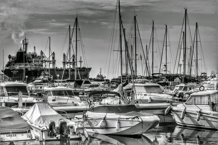Boat Nautical Vessel Transportation Mode Of Transport Port Sea Water Small Town Garrucha Black And White Moorings