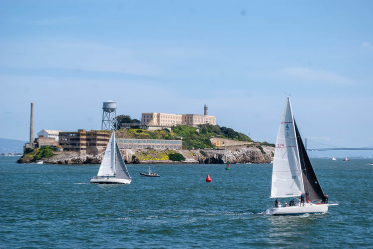 Alcatraz Alcatraz Island Water Nautical Vessel Sailboat Sky Mode Of Transportation Transportation Waterfront Sea Architecture Nature Built Structure Day Building Exterior Sailing Travel Blue Canvas Pole Outdoors No People Yacht Luxury