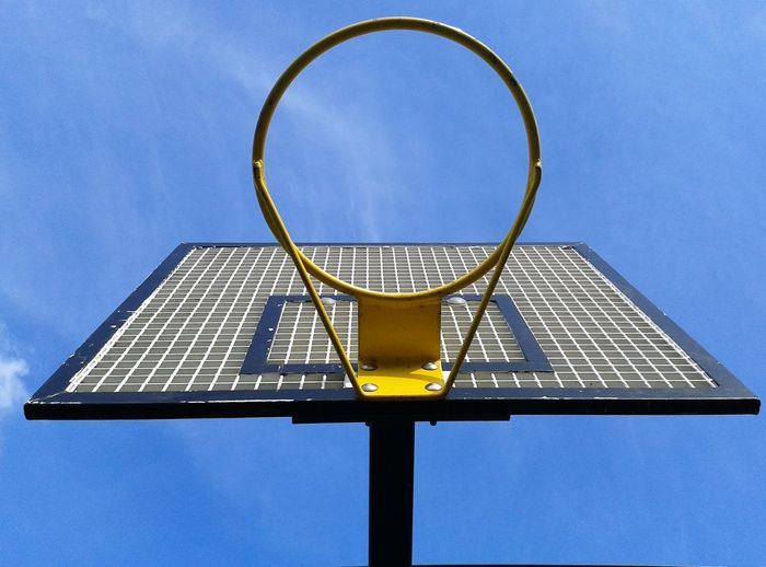 Looking Up Basketball Hoop Blue Sky The Color Of Sport