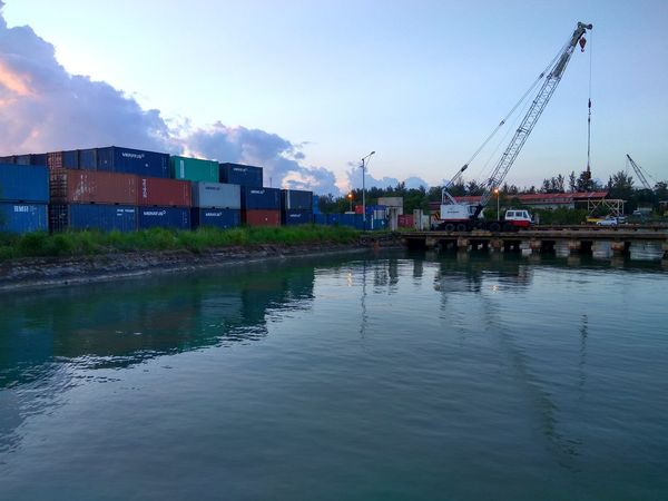 Water Sky Outdoors No People Day City Nature Sunset_collection Sunset Container Business Finance And Industry Reflection Low Section Jetty Ocean Sky Jetty