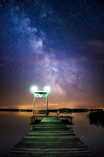 Breathtaking Lights Astronomy Beauty In Nature Blue Galaxy Illuminated Jetty Lake Midnight Milky Way Nature Night No People Outdoors Pier Purple Railing Scenics Sea Sky Star - Space The Way Forward Tranquility Water The Great Outdoors - 2018 EyeEm Awards