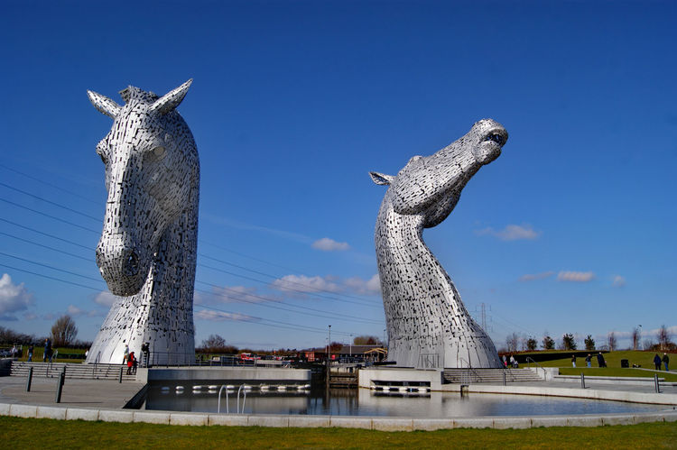 The Kelpies at Falkirk Art And Craft Blue Creativity Day Kelpies Of Falkirk No People Outdoors Sculpture Sky Statue