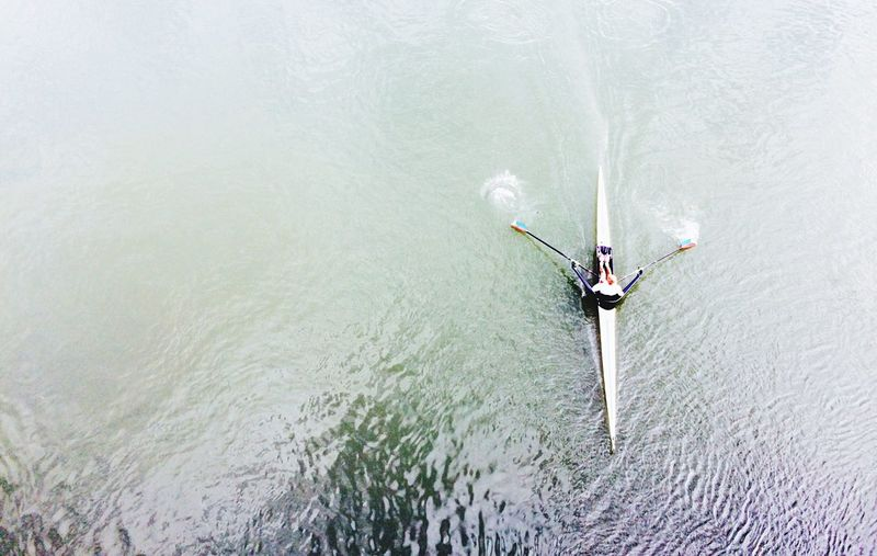 Directly Above Shot Of Person On Kayak In Sea