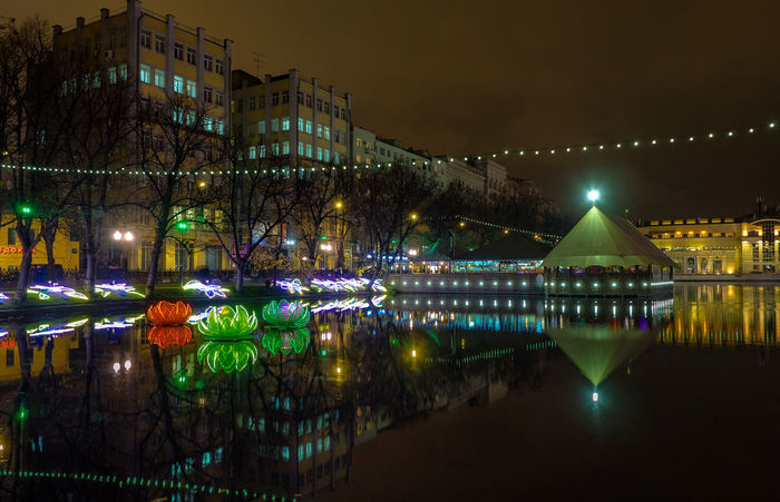 Russia, Moscow, Chistye Prudy, the restaurant is Clean ponds, a Park Architecture Arrival Chinese Lantern Festival Christmas Christmas Decoration Christmas Lights Christmas Tree Cityscape Dusk Horizontal Illuminated Night No People Outdoors Reflection Russia, Moscow, Chistye Prudy, The Restaurant Is Clean Ponds, A Park Sky Tradition Travel Destinations Tree Vacations Water