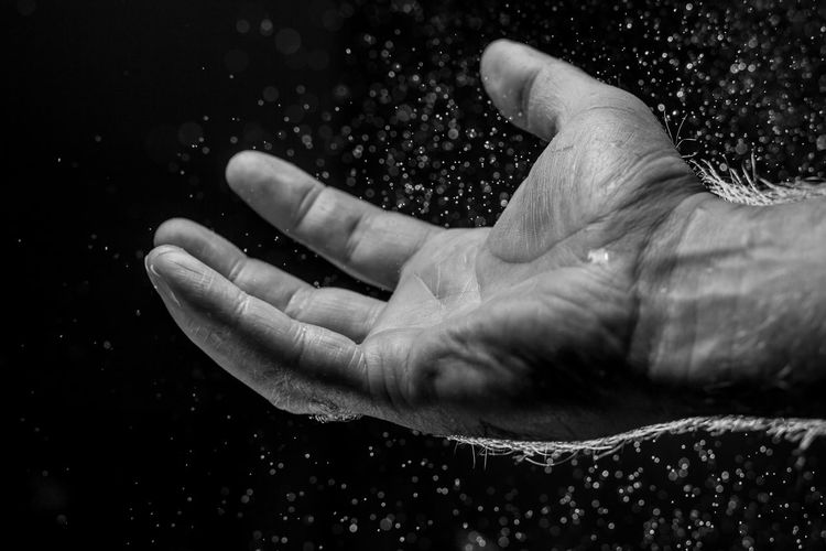 Hand Fingers Palm Rain Human Body Part Human Hand Close-up Water Mono