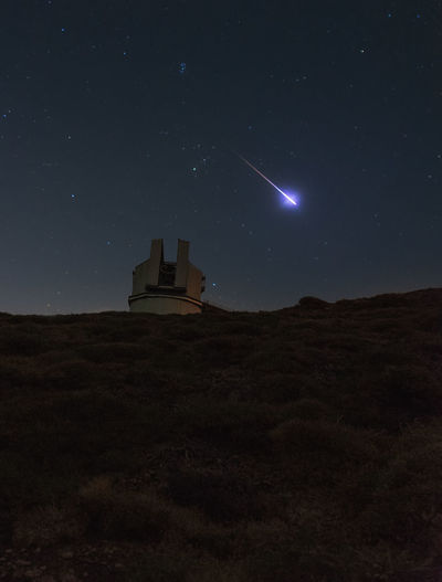 Meteor Nightphotography Architecture Astronomy Beauty In Nature Building Exterior Built Structure Galaxy Long Exposure Low Angle View Moon Mountain Nature Night No People Outdoors Religion Sky Star - Space Star Field Starry Stars Telescope