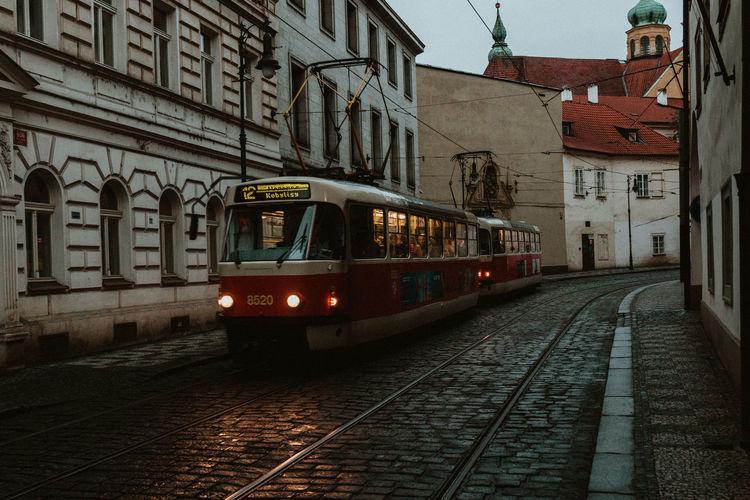 Prague Prague Czech Republic Europe Europe Trip Railroad Track Architecture Track Transportation Rail Transportation Mode Of Transportation Building Exterior Public Transportation Built Structure Cable Car City Motion Street Train Building on the move Land Vehicle Train - Vehicle Illuminated Outdoors