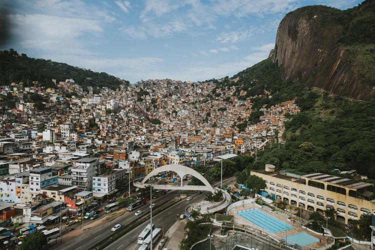 Aerial view of the rocinha favela, located in the south zone of rio de janeiro, brazil