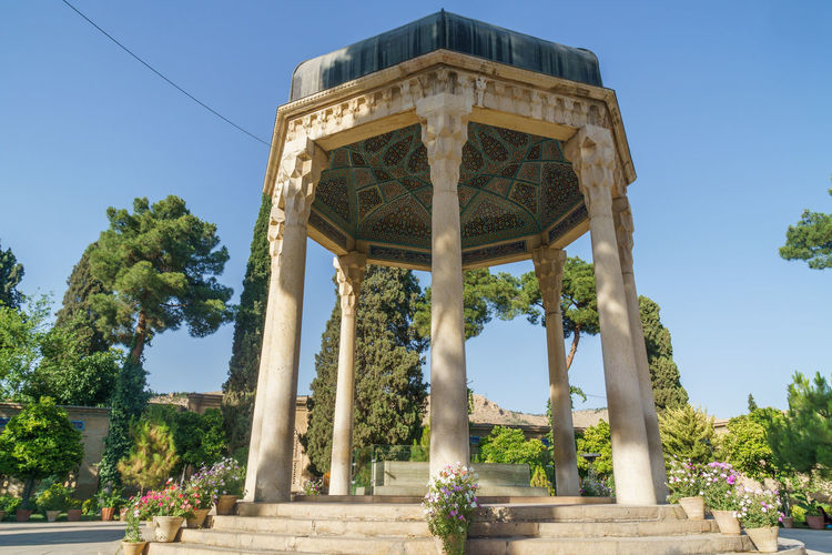 Low angle view of gazebo against sky