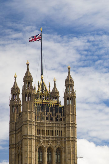 Low Angle View Of Palace Of Westminster Against Sky In City
