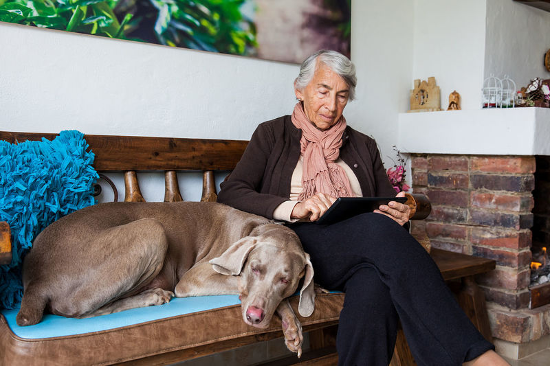 Senior woman using digital tablet with dog sitting on bench at home