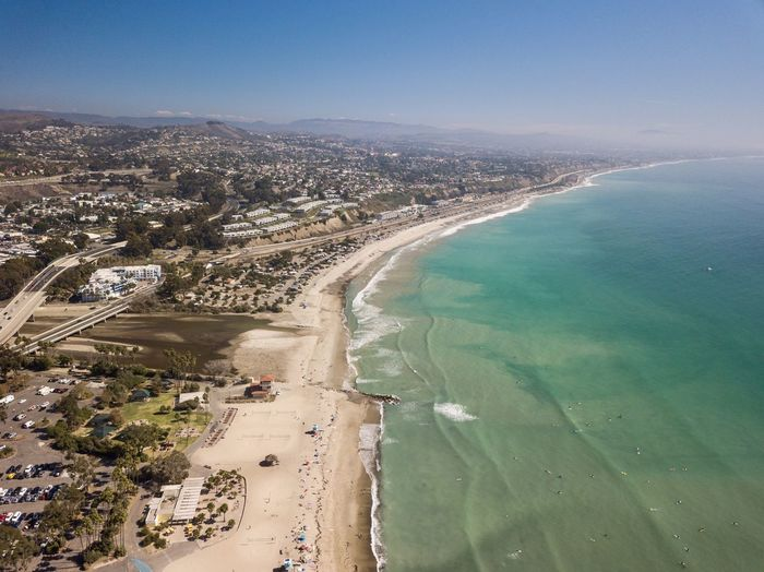 aerial view of Doheny Beach in Dana Point California Water Sea Land Nature Beach Day Outdoors Dohenystatebeach Dana Point, Ca Aerial View Landscape Seascape Southern California Orange County California Pacific Ocean High Angle View Drone View