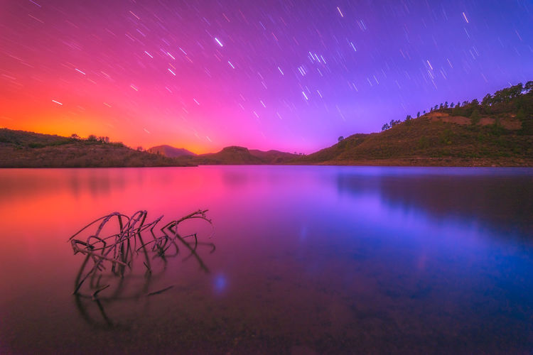 Startrails Sunset Night Longexposure Lake Water Seascape Stars Landscape Mountain Scenics - Nature Sky Tranquility Beauty In Nature Tranquil Scene Star - Space Nature Non-urban Scene Idyllic Astronomy Space Reflection No People Galaxy Star Outdoors Purple