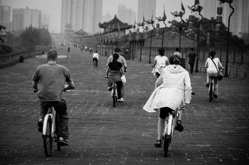 Bikes City Wall Destination Excercise Tourist Travel Destinations Wall Xian China Xian City Wall