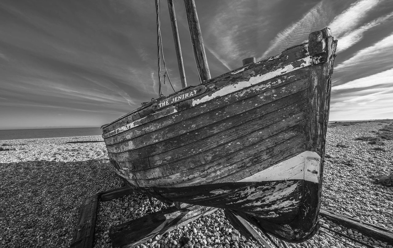 nautical vessel, sea, sky, transportation, nature, mode of transport, water, no people, day, beach, outdoors, cloud - sky, horizon over water, moored, wood - material, tranquility, scenics, beauty in nature, close-up