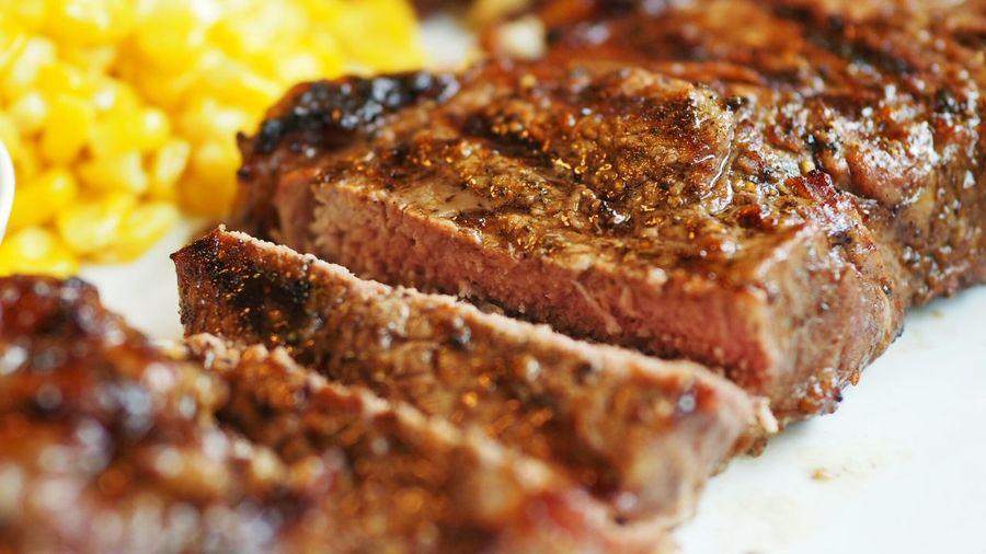 Close-up of steak in plate
