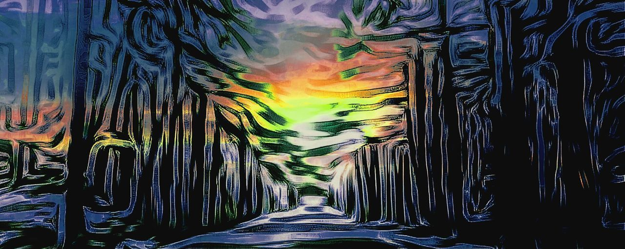 Path In Nature Painting With Photos Burst Of Color Eyem Best Edits Art Painting CreatingFiltered Image Colors Golden Hour Sunset Evening Sky Forrest Photography Sunset_collection Woods And Color Pathintowoods Rainbowsunset Woodland Walk Abstract Art Forrestmagic Forrest Path Into The Light Into The Woods Magic Forrest Magical Places Black Trees