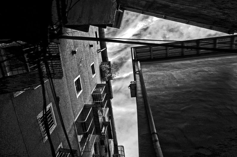 Architecture Black And White Building Exterior Built Structure Cloud - Sky Lookingup No People Outdoors Sky Low Angle View Alleyway 窄巷 夾角 秘徑 尖角 Residential District Relations Composition Getting Inspired