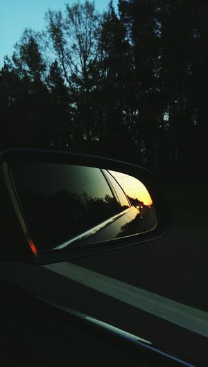 Rearview Rearview Mirror Highways&Freeways Car Road Tree Nature Sky Sunset Evening Sun EyeEmNewHere HTC_photography Htc One M7 Audi A4
