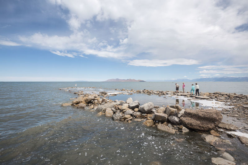 Beach Sky Horizon Over Water Outdoors Tranquility Cloud - Sky People Vacations Beauty In Nature Landscape Low Tide Great Salt Lake The Great Salt Lake Utah Igutah Wowutah Saltair Live For The Story Here Comes The Sun