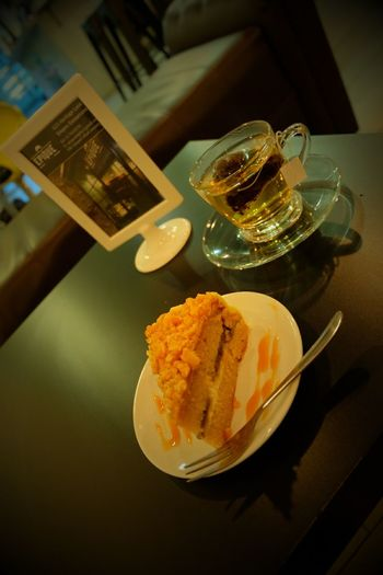 Gula Melaka Banana Cake with peach tea Best Combination Ever