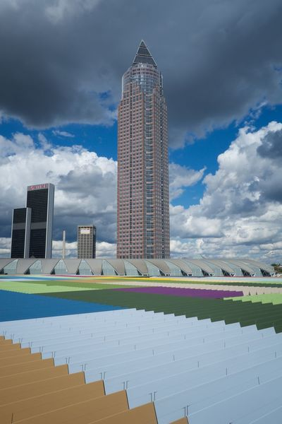 Skyline Plaza Messeturm colour of life Farbenfroh Wolkenhimmel Cloud - Sky Clouds And Sky Clouds Farbenspiel Street Streetphotography Fujifilm X-pro2 Fujifilm_xseries Fujifilm City Frankfurt Am Main Skyline Skyline Frankfurt The Graphic City Urban Geometry Urban Urban Skyline