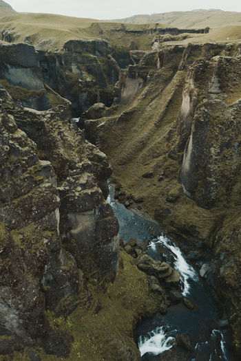 Aerial view of river flowing through rocks