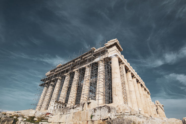 Acropolis Athens Greece Acropolis Sky Architecture Cloud - Sky Low Angle View Built Structure Building Exterior History Nature Travel Destinations The Past Day Travel No People Tourism Ancient Building Old Ruin Outdoors Place Of Worship Religion Ancient Civilization Architectural Column Ruined Archaeology
