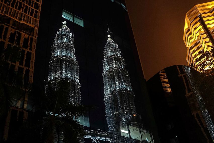 Low Angle View Architecture Built Structure Night No People Malaysia Klcc Building Exterior City Outdoors Sky