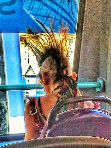 Punk Mohican On The Bus