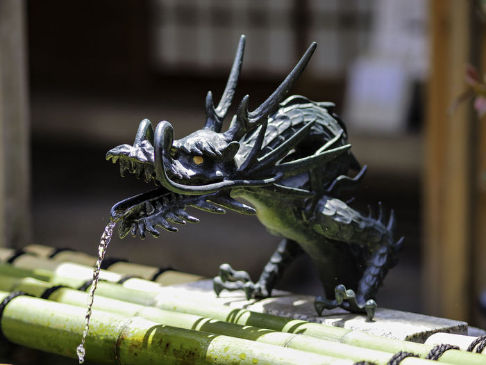Close-up of dragon fountain on bamboo