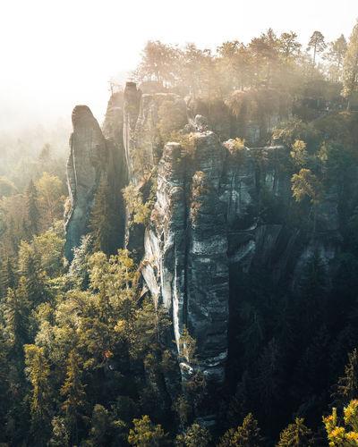 Sunkissed rocks at a beautiful morning in saxon switzerland, germany, bastei bridge