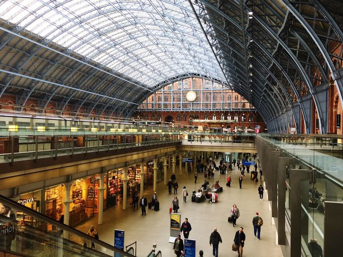 St Pancras station Travel Tourist City Large Group Of People People Travel Destinations Architecture Indoors  Built Structure Business Crowd Modern Commuter Day Train Station Glass People Watching Busy