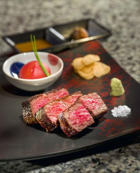 Close-up of wagyu beef teppanyaki