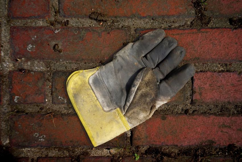 Glove Brick No People Close-up Wall Day Brick Wall Red Outdoors Dirty Old Still Life Paint Yellow