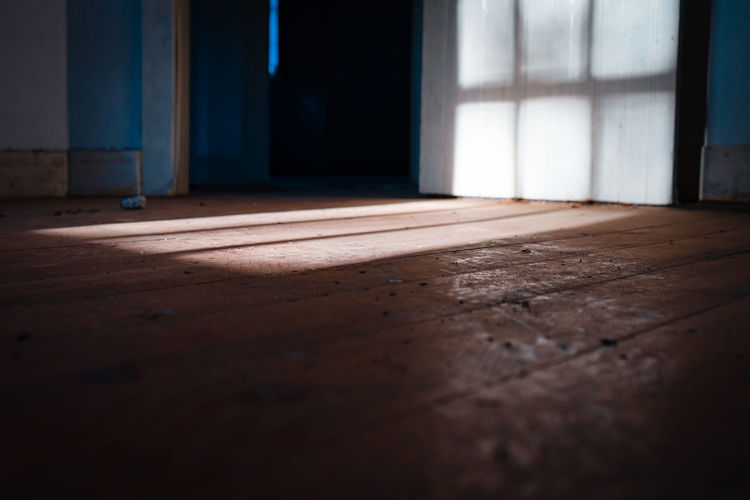 Surface level of wooden floor in house