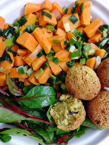 What's For Dinner? Sweet Potatoes Falafel from chickpeas with red Chard Sweet Potato Green Onion Vegetarian Food Vegan Food Vegetables 365 Photos In 2015