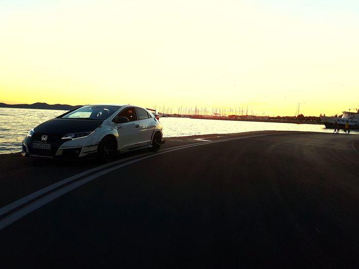 Honda Honda Civic Civic Civictyper Typer Fk2r Sunset Car Nature Outdoors No People Day Sea Croatia Zadar Championshipwhite Vacation