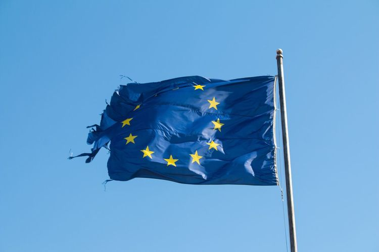 Euroflag Europe Blue Clear Sky Low Angle View Flag No People Outdoors Day Nature