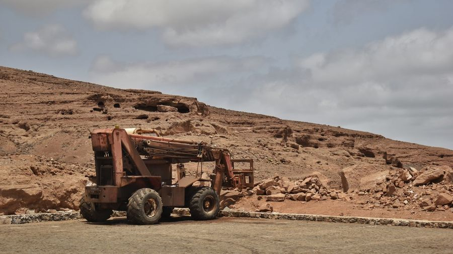 Vintage mining equipment in the landscape