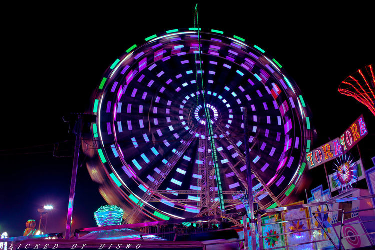 merry - go - round Amusement Park Night Arts Culture And Entertainment Ferris Wheel Illuminated Amusement Park Ride Circle Low Angle View Long Exposure Outdoors First Eyeem Photo