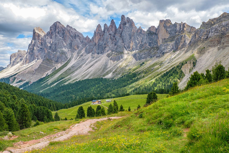 Beautiful alp mountain valley in the dolomites