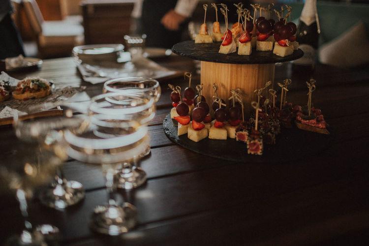 High angle view of snacks on table