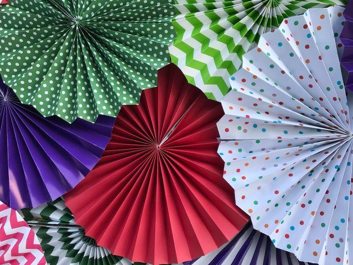 Full frame shot of colorful paper hand fans