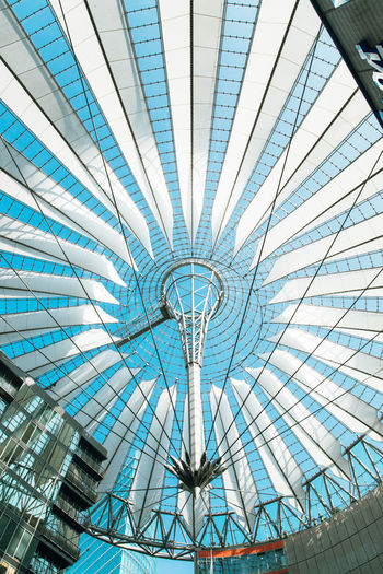 Architecture Blue Built Structure Ceiling City Day Design Directly Below Geometric Shape Glass - Material Indoors  Large Low Angle View Metal Modern Nature No People Office Building Exterior Pattern Shape Sky Skylight Sunlight