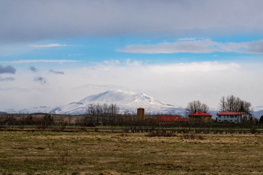 Agriculture Beauty In Nature Cloud - Sky Day Field Grass Hekla Landscape Mountain Nature No People Outdoors Rural Scene Scenics Sky Tranquil Scene Tranquility Volcano