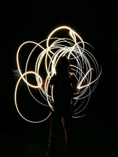 One Person Adults Only Night Illuminated Long Exposure Light Painting Motion Silhouette Black Background Fashion Stories EyeEmNewHere