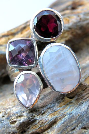 Amethyst Amethyst Stone Beautiful Close-up Day Gift Gifts ❤ Jewellery Jewelry Moonstone Multi Colored No People Opal Ring Semi Precious Stones Shiny Silver  Silver Jewelery Silver Ring Stone Stone Background Variation