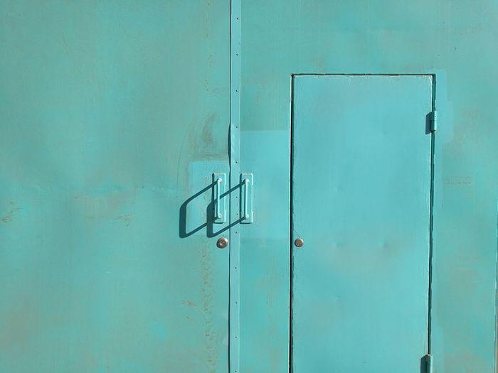 Close-up of closed blue door