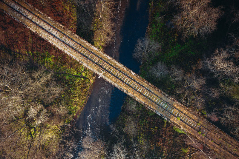 High angle view of railroad tracks by trees in forest
